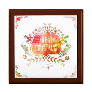 Watercolor Retro Merry Christmas Gift Box