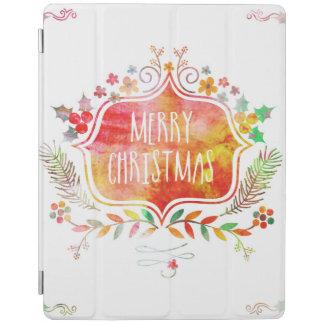 Watercolor Retro Merry Christmas iPad Cover