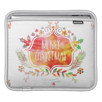 Watercolor Retro Merry Christmas iPad Sleeve