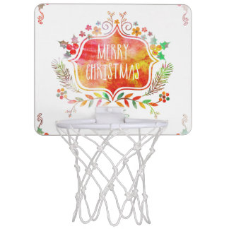 Watercolor Retro Merry Christmas Mini Basketball Hoop