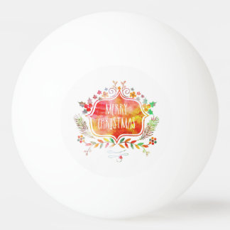 Watercolor Retro Merry Christmas Ping Pong Ball