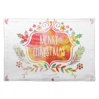 Watercolor Retro Merry Christmas Placemat