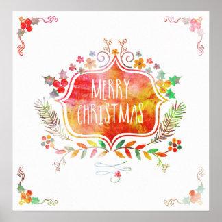 Watercolor Retro Merry Christmas Poster