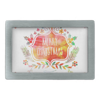 Watercolor Retro Merry Christmas Rectangular Belt Buckle