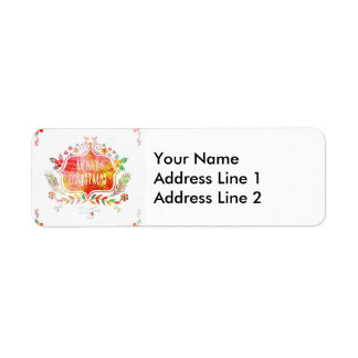 Watercolor Retro Merry Christmas Return Address Label