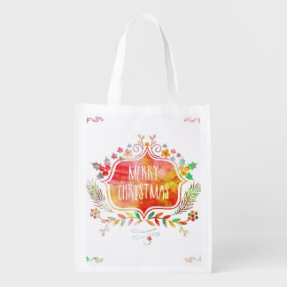 Watercolor Retro Merry Christmas Reusable Grocery Bag