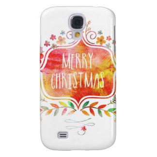 Watercolor Retro Merry Christmas Samsung Galaxy S4 Case