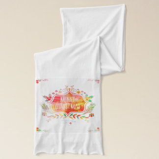 Watercolor Retro Merry Christmas Scarf