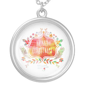 Watercolor Retro Merry Christmas Silver Plated Necklace