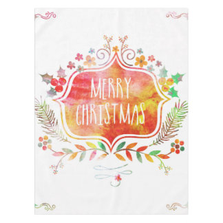 Watercolor Retro Merry Christmas Tablecloth