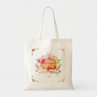 Watercolor Retro Merry Christmas Tote Bag