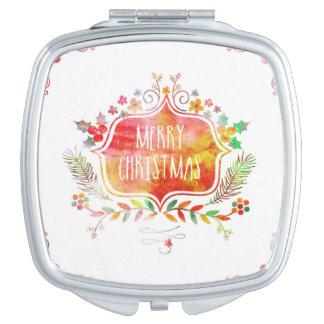 Watercolor Retro Merry Christmas Vanity Mirror