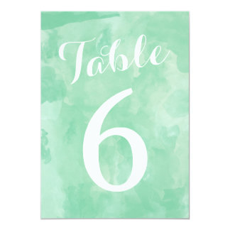 Watercolor Romance Wedding Table Numbers Card