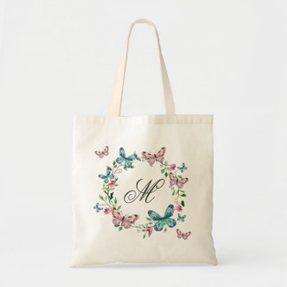 Watercolor  romantic Butterfly Flower wreath Tote Bag