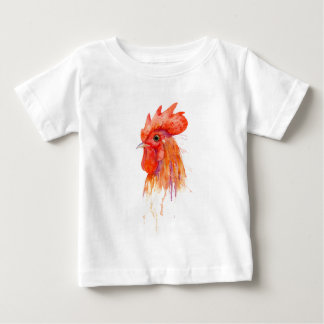 Watercolor Rooster Portrait Golden Baby T-Shirt