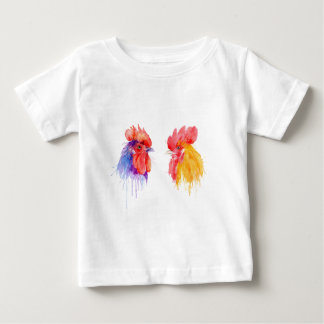 watercolor Rooster Portrait two roosters Baby T-Shirt