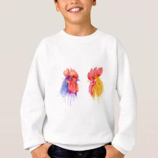 watercolor Rooster Portrait two roosters Sweatshirt