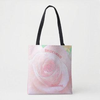 Watercolor Rose and Pink Quatrefoil Bridesmaid Tote Bag