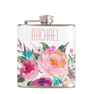 Watercolor Rose Floral with Name Flasks