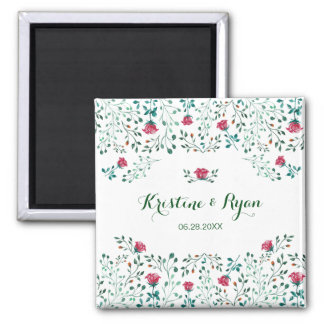 Watercolor Rose Garden Wedding Save the Date Magnet