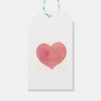 Watercolor Rose Painted heart Gift Tags