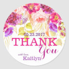 Watercolor Roses and Hydrangeas Floral Thank You Classic Round Sticker