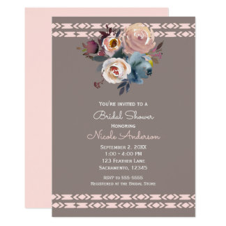 Watercolor Roses Boho Pink Taupe Bridal Shower Card
