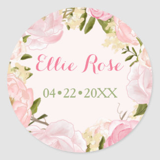 Watercolor Roses Custom Pink Birth Announcement Classic Round Sticker