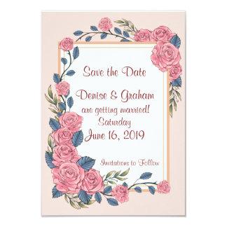 Watercolor Roses Custom Save the Date Card