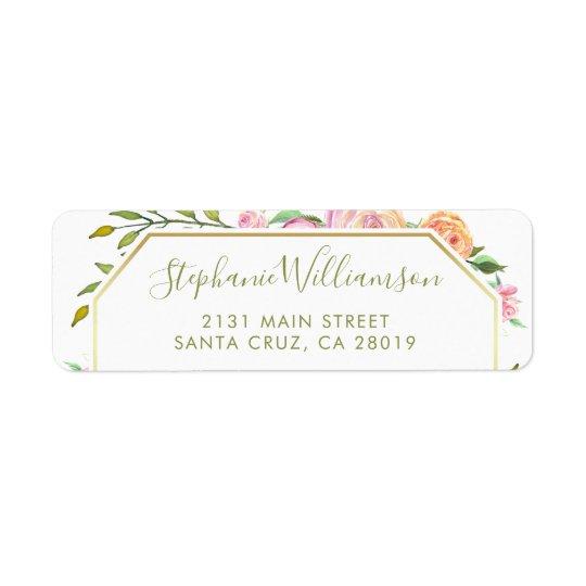 Watercolor Roses & Green Leaves Floral Wedding Return Address Label