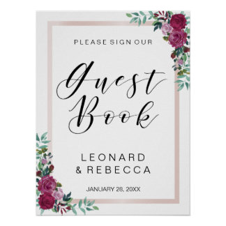 Watercolor roses Guest Book calligraphy sign