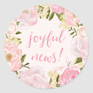 Watercolor Roses Joyful News Birth Announcement Classic Round Sticker