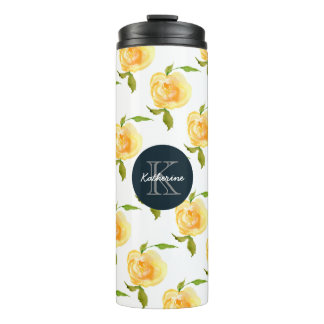 Watercolor Roses Monogram Thermal Tumbler