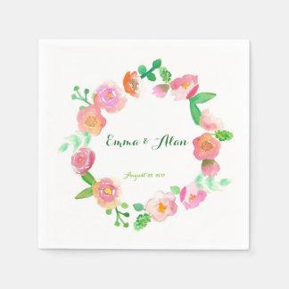 Watercolor roses napkins wedding disposable serviette
