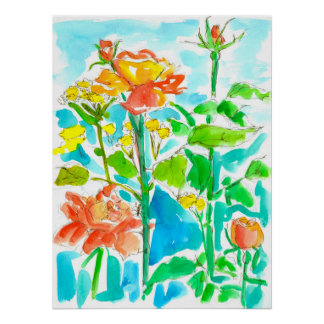 Watercolor Roses Orange Turquoise Poster