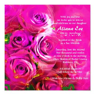 "WATERCOLOR ROSES PINK NEON Bat Mitzvah Invitation 5.25"" Square Invitation Card"