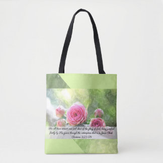 Watercolor Roses Romans 3:23 & 24 Tote