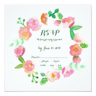 Watercolor roses RSVP Wedding invitation