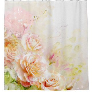 Watercolor Roses Shower Curtain