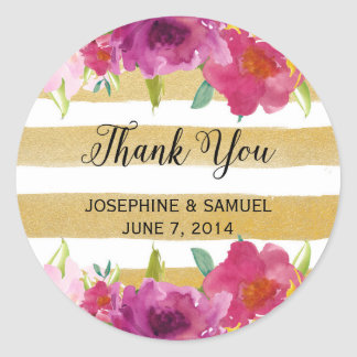 Watercolor Roses Thank You Round Stickers