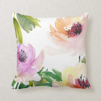 Watercolor Roses Trendy Floral Abstract Throw Pillow