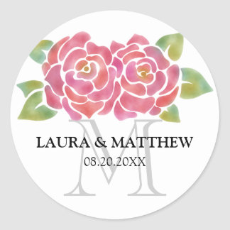 Watercolor Roses Wedding Favor Monogram Stickers