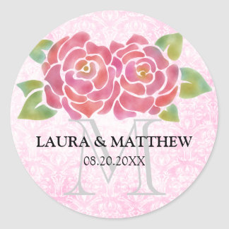 Watercolor Roses Wedding Favor Monogram Stickers