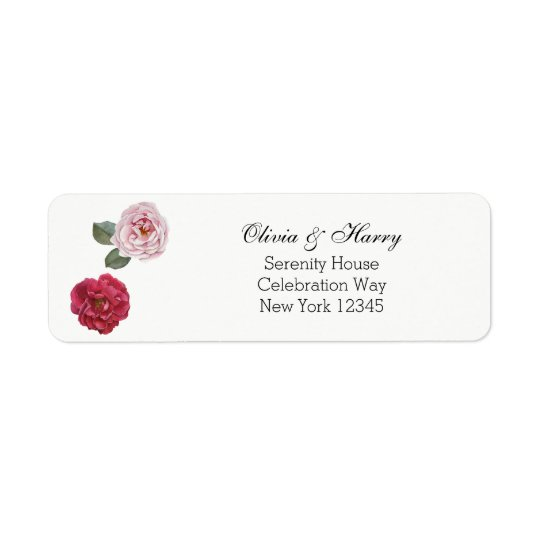 Watercolor Roses Wedding Return Address Labels