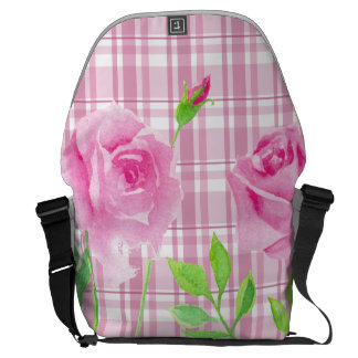 Watercolor roses with plaid backbag Rickshaw Messenger Bag