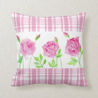 Watercolor roses with plaid pillow