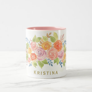Watercolor Roses Wreath with Name Two-Tone Coffee Mug