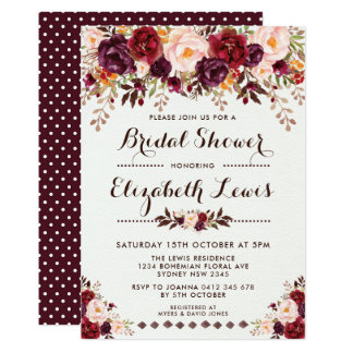 Watercolor Rustic Boho Bridal Shower Invitation