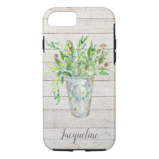 Watercolor Rustic Farmhouse Shiplap Wood Foliage iPhone 8/7 Case