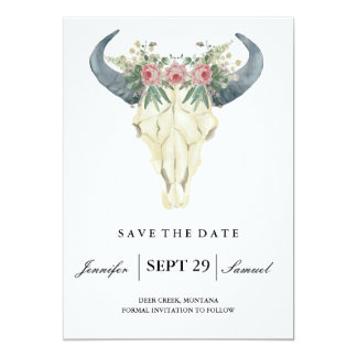 Watercolor Rustic Rodeo | Save the Date Roses Card